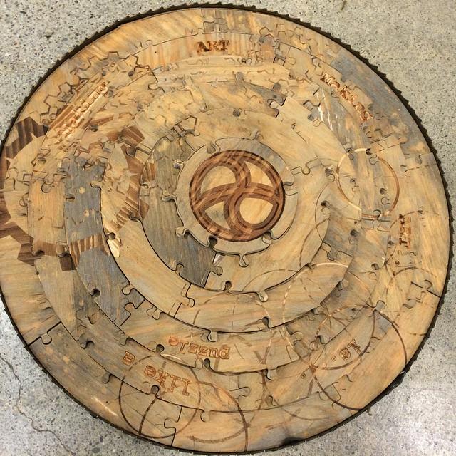 #waterjet wood #laseretched #welding old bandsaw blade frame