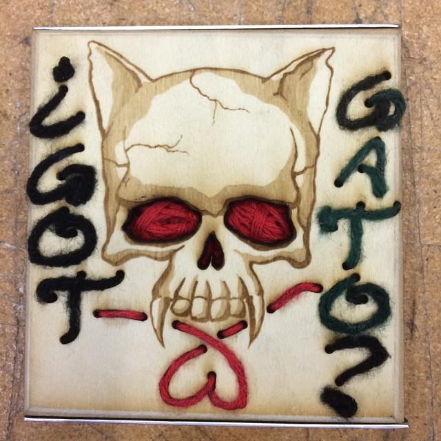 #catskull #lasercut #yarn my art tile for the #techshopsanjose collage ;) do you..