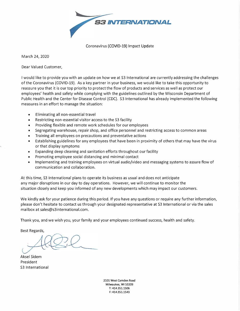 Coronavirus (COVID-19) Impact Update Letter
