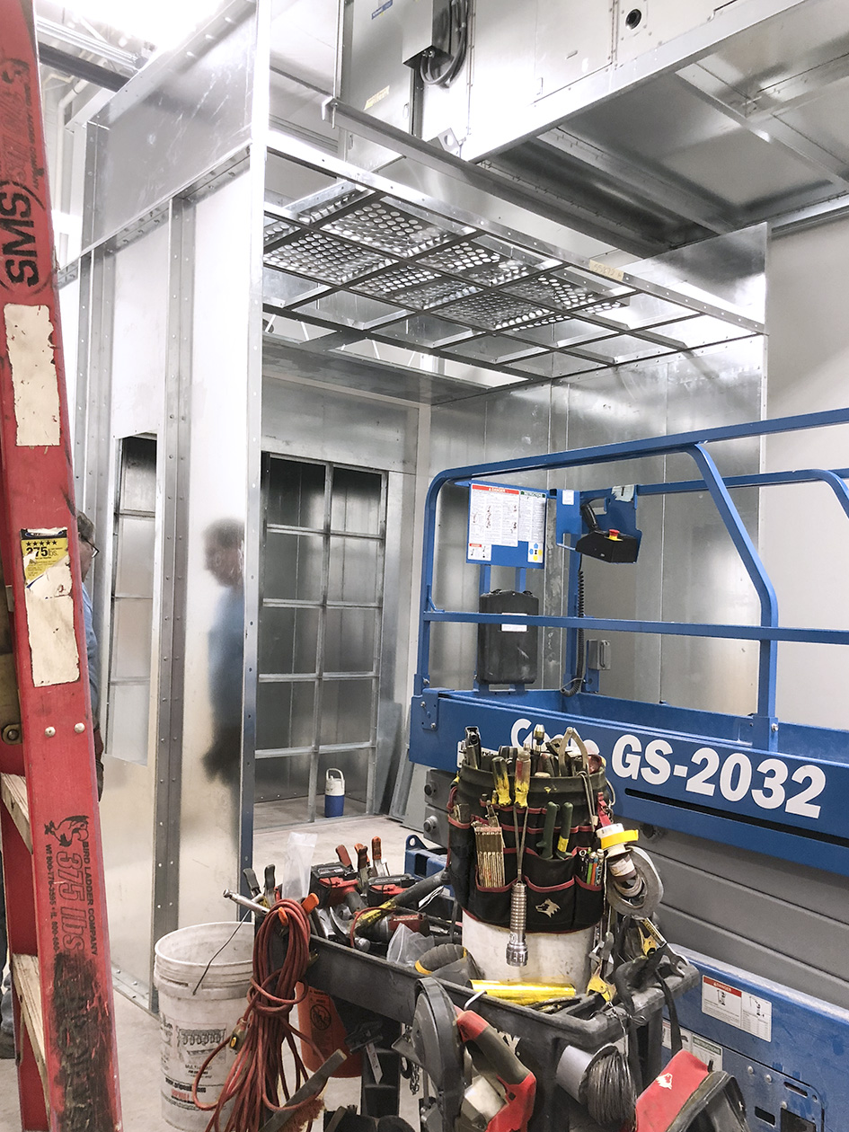 New paint booth being assembled