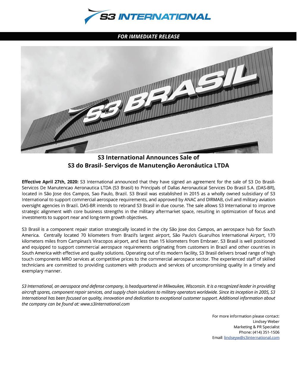 S3 Press Release