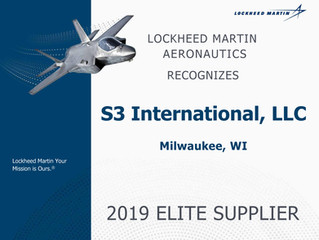 S3 International Recognized as Elite Supplier Award Recipient by Lockheed Martin