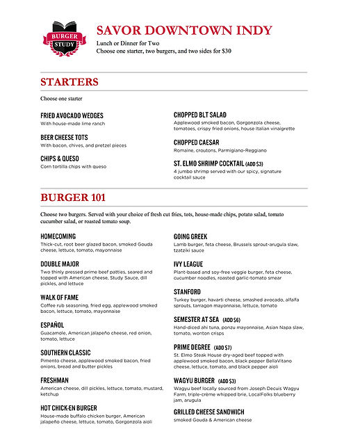 Burger Study Savor Indy Menu Summer 2019
