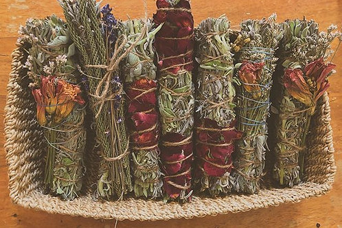 Clary sage, Rosemary, Lavender & Rose Smudge Stick
