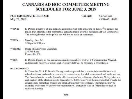 El Dorado County Ad-Hoc Committee Meeting Scheduled For June 3rd