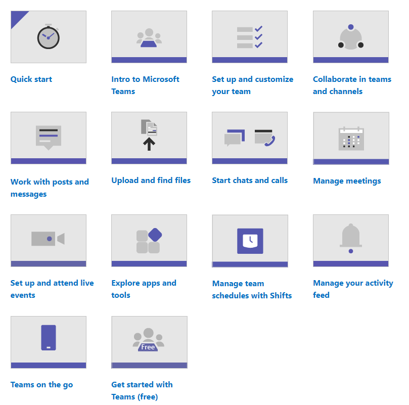 Image showing video training links from Microsoft: Quick start,  Intro to Microsoft Teams,  Set up and customize your team,  Collaborate in teams and channels,  Work with posts and messages,  Upload and find files,  Start chats and calls,  Manage meetings,  Set up and attend live events,  Explore apps and tools,  Manage team schedules with Shifts,  Manage your activity feed,  Teams on the go,  Get started with Teams (free).