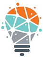 Our Logo - Lightbulb with different coloured ideas in the bulb.