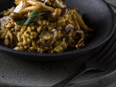 MUSHROOM BARLEY RISOTTO WITH FRIED SAGE