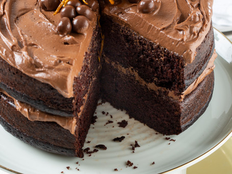 CHOCOLATE CAKE WITH CHOCOLATE ORANGE CREAM CHEESE ICING
