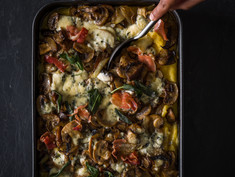 POLENTA BAKE WITH MIXED MUSHROOM TOPPING AND CREAMY BLUE CHEESE