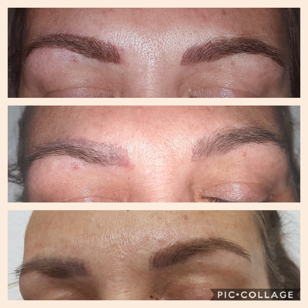 Eyebrow Feathering before and after