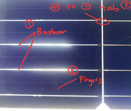 Solar cell, fingers and bus bar