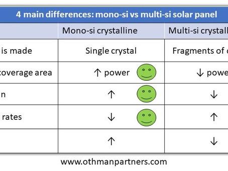 4 main advantages/disadvantages between mono-si and poly-si