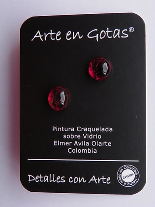 Pendientes tipo Mini Botón -Plata de Ley(Ref.Vino)