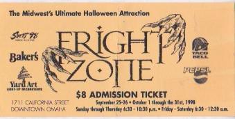 Fright Zone 1998 Stub