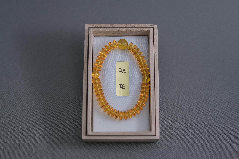 アンバー琥珀平玉(6×8mm)
