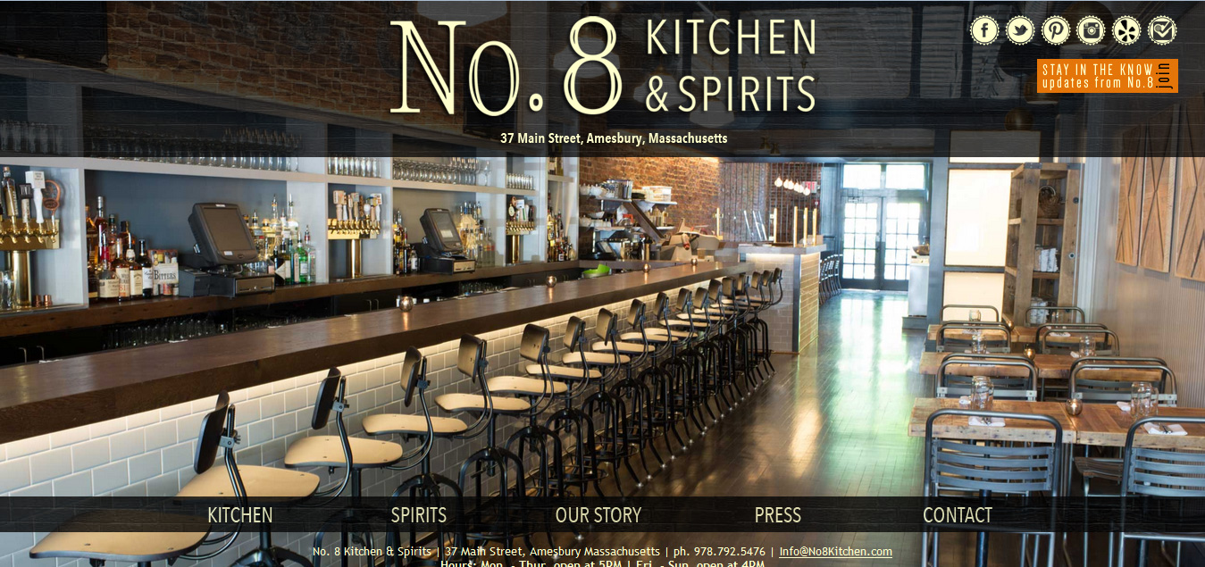 No. 8 Kitchen + Spirits, Amesbury MA