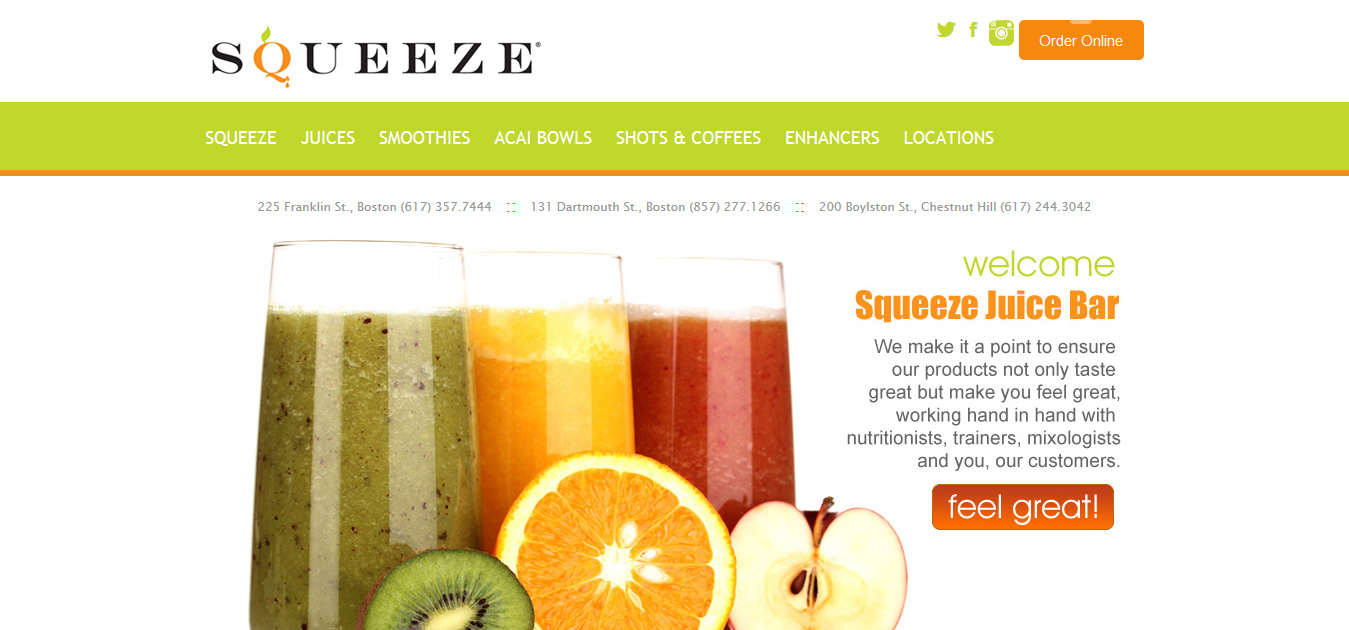 Squeeze Juice Bar, Boston MA