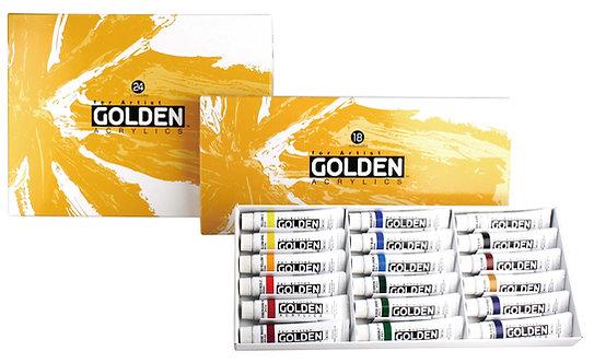 Golden Acrylic Color Set-高登管裝濃度丙稀彩套裝  11ml x 18col