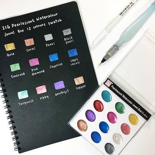 ZIG 12 Pearlescent Watercolor Jewel Box          珍珠寶石箱水彩