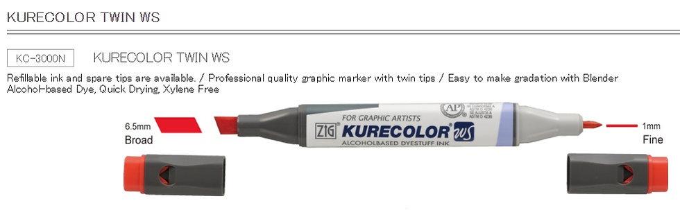 ZIG KURECOLOR TWIN WS  (Single Colour)  日本吳竹牌 雙頭多功能繪畫筆(單枝)