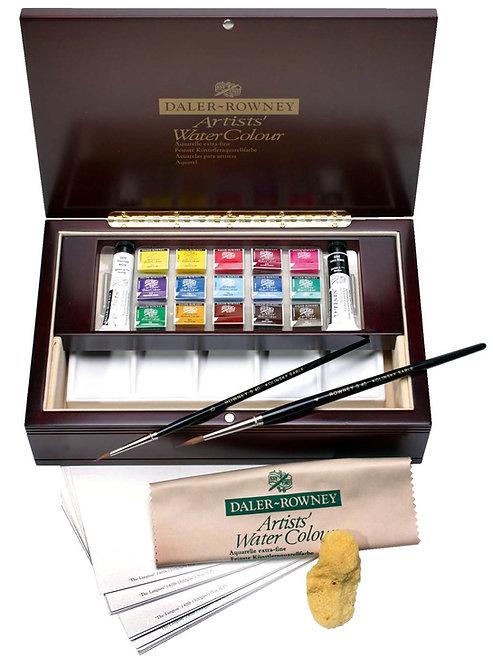 Rowney Artists' Water Colour Half Pan Wooden box Set 15 cols-威美專家水彩顏木盒套裝半色餅 15色