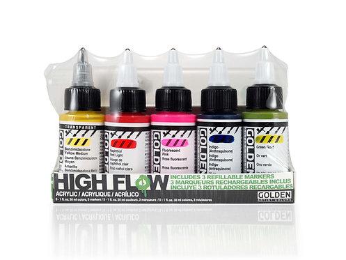 Golden High Flow Marker Set 5col x30ml+3 Empty Marker