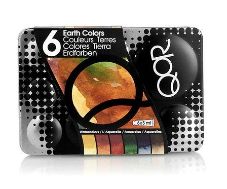 Golden QoR Earth Watercolor Set 6col.x5ml-畫家水彩套裝(Earth)