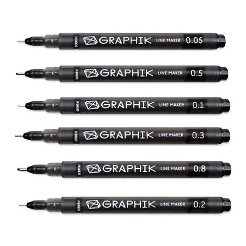 Derwent Graphik Line Markers   DW 黑色幼咀繪圖筆