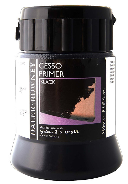 Rowney Black Gesso Primer 236ml bottle-威美丙稀底黑