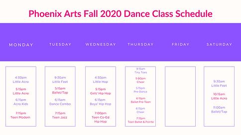 phoenix arts fall 2020 schedule at a gla