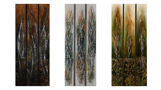 Triptych Trio by Ashley Hay. Mixed Media