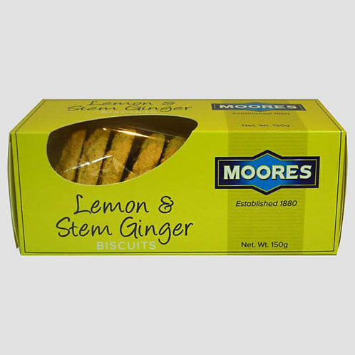 Moores Lemon & Stem Ginger Biscuits (150g)