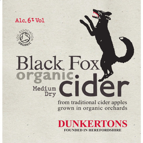 2 pints: Draught Dunkertons Organic Black Fox Cider (6% abv)