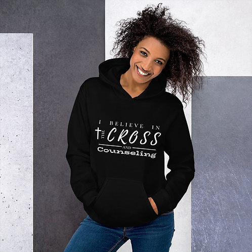 Cross + counseling hoodie (white lettering)