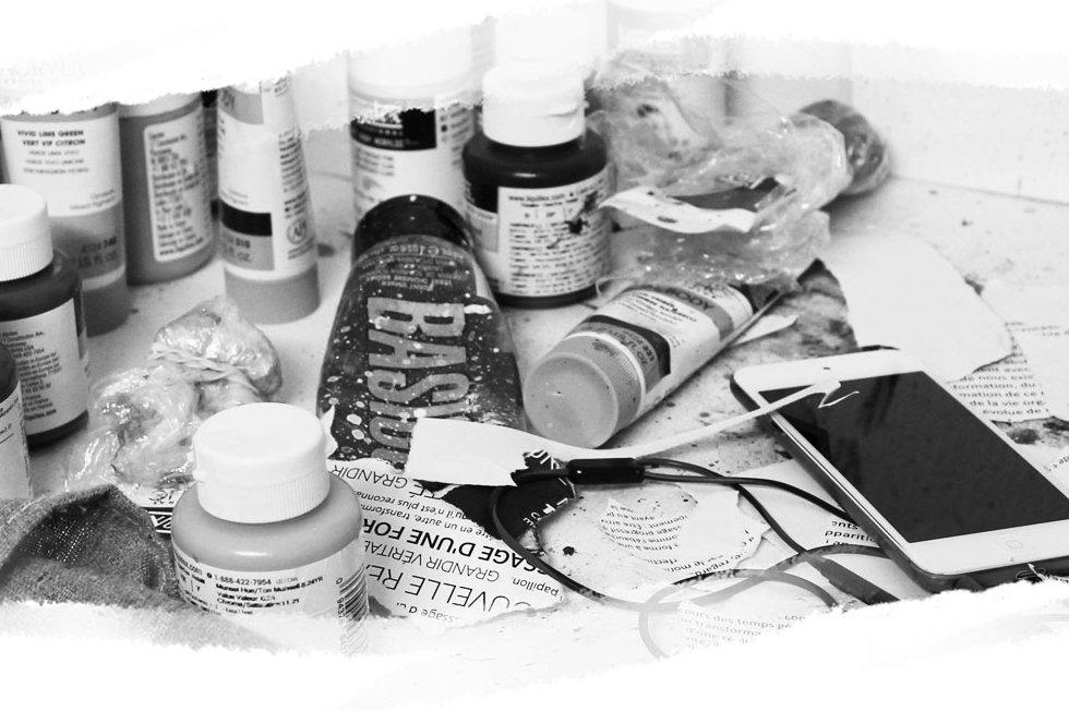 Peinture artistique acrylique, atelier d'artiste