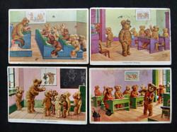 4 AK Teddyschule aus den 30er Jahren