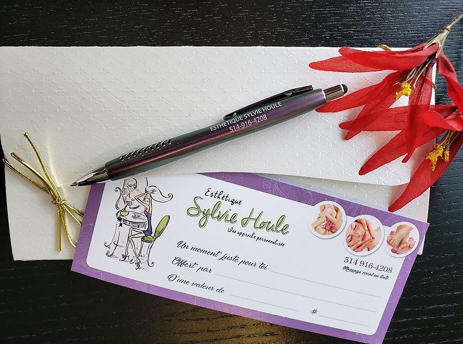 Certificat cadeau Esthétique Sylvie Houle Ste-Julie