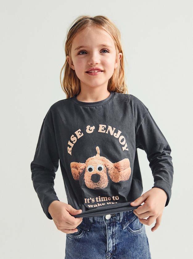 Zara Girl T-shirt Dog Appliqué