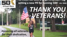 Thank You All Veterans! We appreciate & honor your service! Blessed to run 31 miles with the flag!