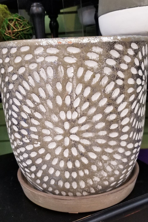 "Corinne Ceramic Planter W/Saucer 9.75"" Diameter"