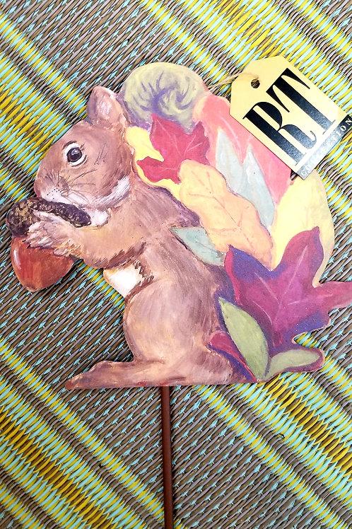 Colors of Fall Squirrel Metal Yard Stake