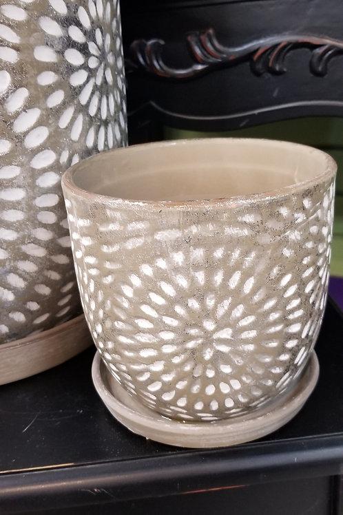 "Corinne Ceramic Planter W/Saucer 5.5"" Diameter"