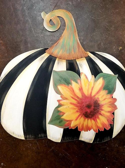 Black & White Striped Metal Pumpkin W/Sunflower or Leaves