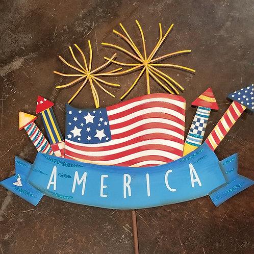 """AMERICA"" Sparkler Sign on Stake"