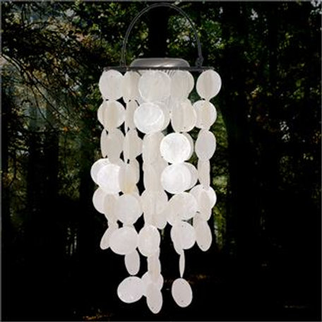 Chimes-Capiz White Solar Woodstock