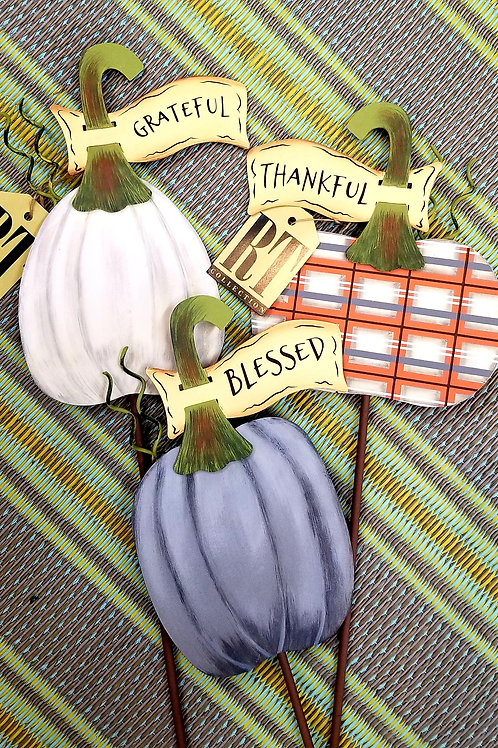 Pumpkin Stake with Banner Metal - Small