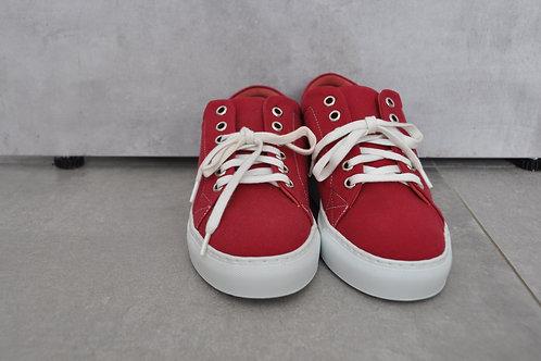 Sneaker, witte zool, rood