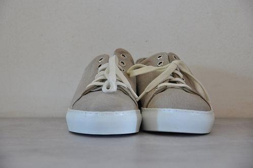 Sneaker, witte zool, Beige
