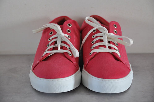 Sneaker, witte zool, coral red
